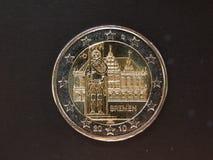Euro muntstuk met Bremen townhall op het Royalty-vrije Stock Afbeelding