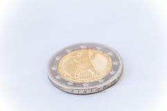 2 euro Muntstuk met Duits achtereind Stock Fotografie