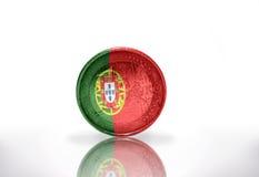 Euro muntstuk met Portugese vlag op het wit Royalty-vrije Stock Foto