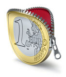 Euro muntstuk met ritssluiting Stock Foto