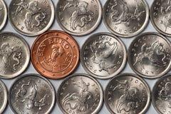 Euro muntstuk onder Russische muntstukken Stock Foto