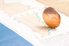 Euro muntstuk op financiële grafiek Stock Fotografie