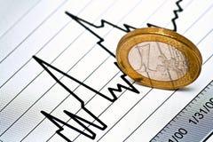 Euro muntstuk op grafiek Stock Foto