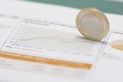 Euro muntstuk op rand en effectenbeursgrafiek Stock Foto's