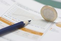Euro muntstuk op rand, potlood en effectenbeursgrafiek Royalty-vrije Stock Foto's