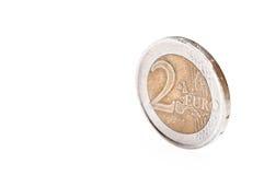 Euro muntstuk twee Royalty-vrije Stock Afbeeldingen