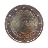 Euro muntstuk twee die het portret van Giovanni Boccaccio dragen Royalty-vrije Stock Afbeelding