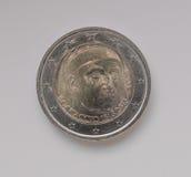 Euro muntstuk twee die het portret van Giovanni Boccaccio dragen Stock Afbeeldingen