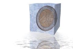 Euro muntstuk twee in ijsblokje Royalty-vrije Stock Afbeelding