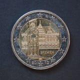 2 euro muntstuk van Duitsland Stock Foto's