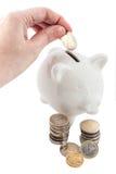 Euro muntstuk in witte spaarvarkens Stock Afbeelding