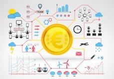 Euro muntstukinkomens met blauwe rode infographic rond pictogrammen en grafieken Stock Afbeelding