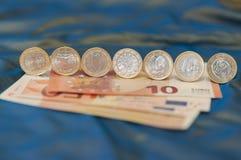 Euro Muntstukken één Stock Fotografie