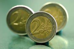 Euro muntstukken 1 Stock Afbeeldingen