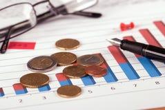Euro muntstukken en glazen Royalty-vrije Stock Afbeelding