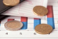 Rekening en euro muntstukken Stock Foto's