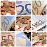Euro muntstukken en bankbiljetcollage Stock Afbeelding