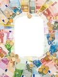 Euro muntstukken en bankbiljettenframe Royalty-vrije Stock Fotografie