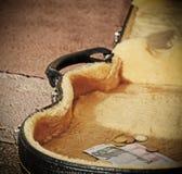 Euro muntstukken en rekeningen in een gitaargeval Royalty-vrije Stock Foto
