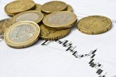 Euro muntstukken en voorraadgrafiek als mede muntuitwisseling Stock Afbeeldingen
