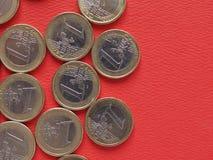1 euro muntstukken, Europese Unie, gemeenschappelijke zijde Stock Foto