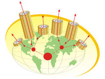 Euro Muntstukken met de Kaart van de Wereld vector illustratie