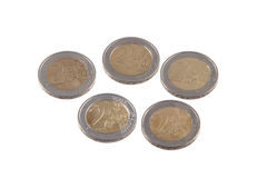 Euro muntstukken op een duidelijke witte achtergrond Stock Foto