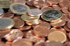 Euro, muntstukken, pasmunt Stock Afbeelding