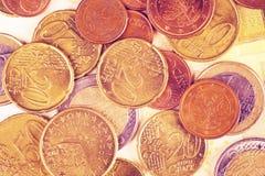 Euro Muntstukkenachtergrond Royalty-vrije Stock Foto's
