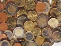 Euro muntstukkenachtergrond Stock Afbeeldingen