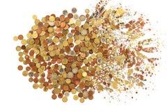 Euro muntstukkenexplosie op een witte achtergrond Stock Fotografie