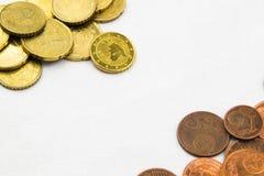 Euro muntstukkenkader als achtergrond Stock Afbeeldingen