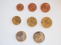 Euro muntstukkenreeks Royalty-vrije Stock Foto