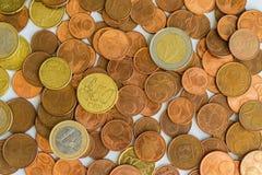 Euro muntstukkentextuur Stock Afbeeldingen