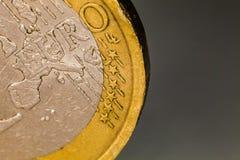 Euro muntstukmacro, één euro Stock Fotografie