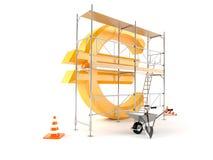 Euro muntsymbool met steiger Royalty-vrije Stock Foto