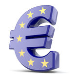 Euro muntteken en de Unie van Europa vlag. Stock Afbeeldingen