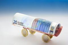 Euro muntwagen Stock Afbeeldingen
