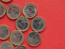 1 euro mynt, europeisk union, gemensam sida Arkivfoton