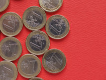 1 euro mynt, europeisk union, gemensam sida Arkivfoto
