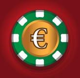 Euro-mynt temadesign för kasinobegrepp Arkivfoton