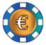 Euro-mynt temadesign för kasinobegrepp Fotografering för Bildbyråer