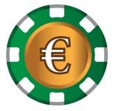 Euro-mynt temadesign för kasinobegrepp Arkivbilder