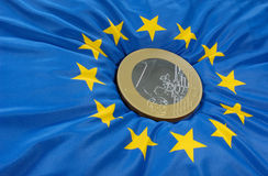 Euro na bandeira Fotos de Stock Royalty Free
