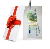 Euro na caixa de presente no branco Imagens de Stock