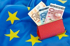 Euro na carteira Fotografia de Stock Royalty Free
