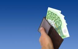 Euro na carteira Fotos de Stock