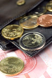 Euro na carteira Imagem de Stock