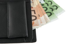 Euro na carteira isolada no branco Imagem de Stock Royalty Free