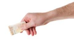 Euro na mão masculina Fotos de Stock Royalty Free
